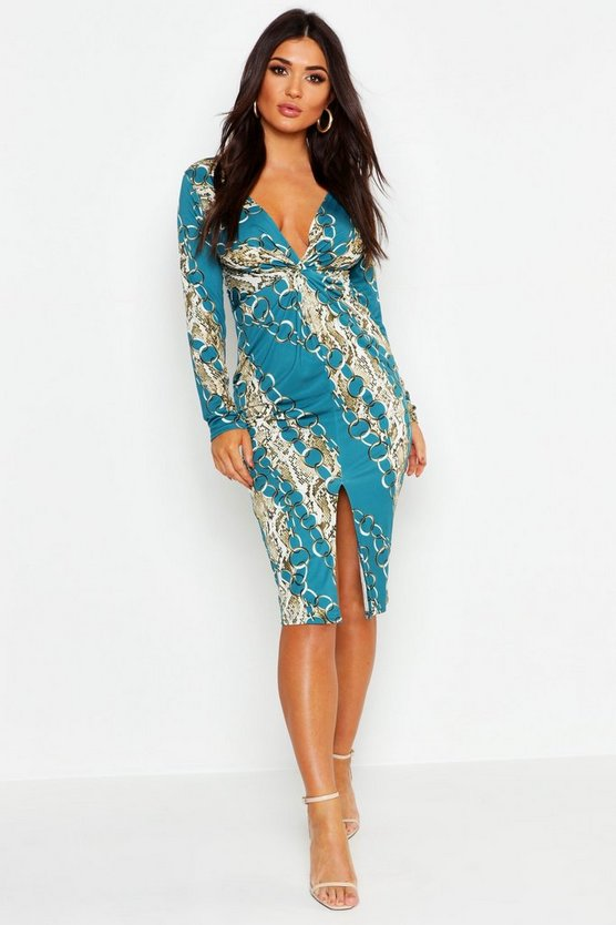 Womens Teal Chain Print Twist Front Midi Dress
