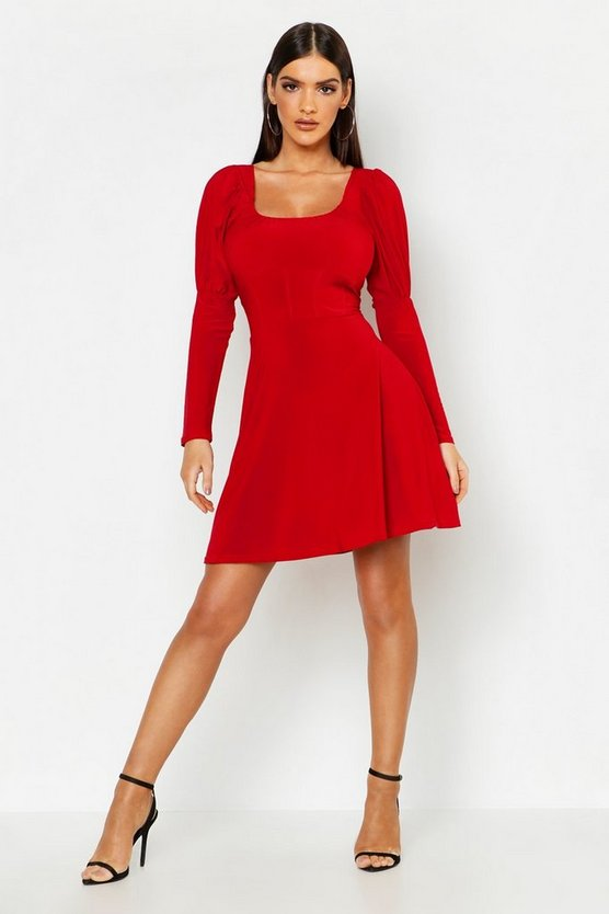 Structured Waist Slinky Skater Dress
