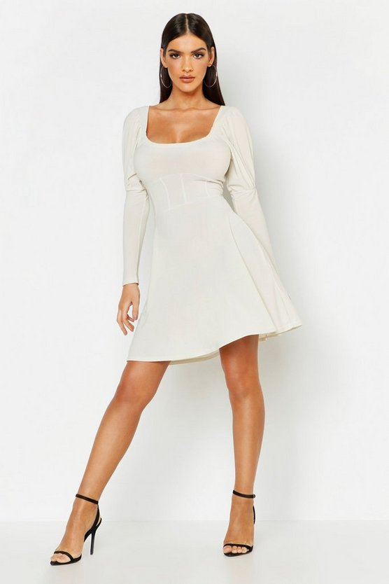 Womens Taupe Structured Waist Slinky Skater Dress