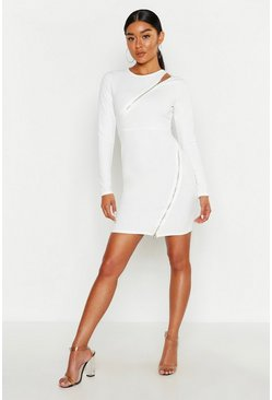 Womens Ivory Long Sleeve Zip Detail Bodycon Dress