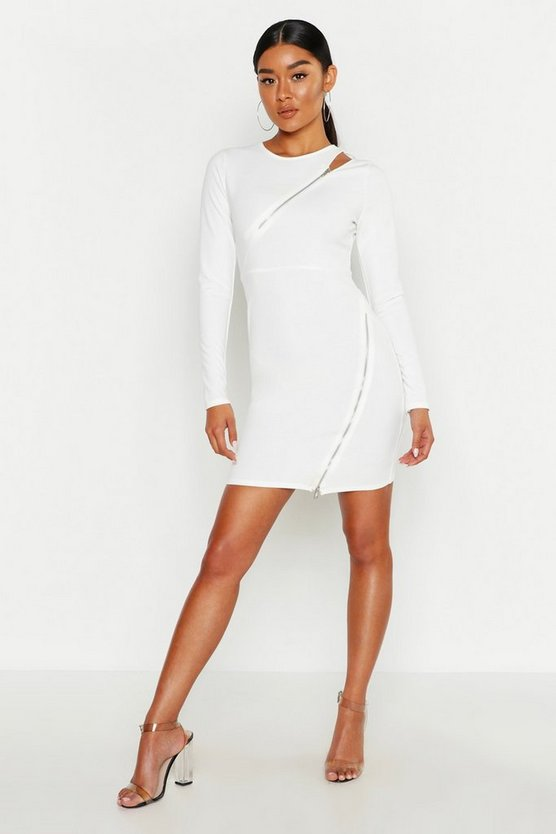 Long Sleeve Zip Detail Bodycon Dress