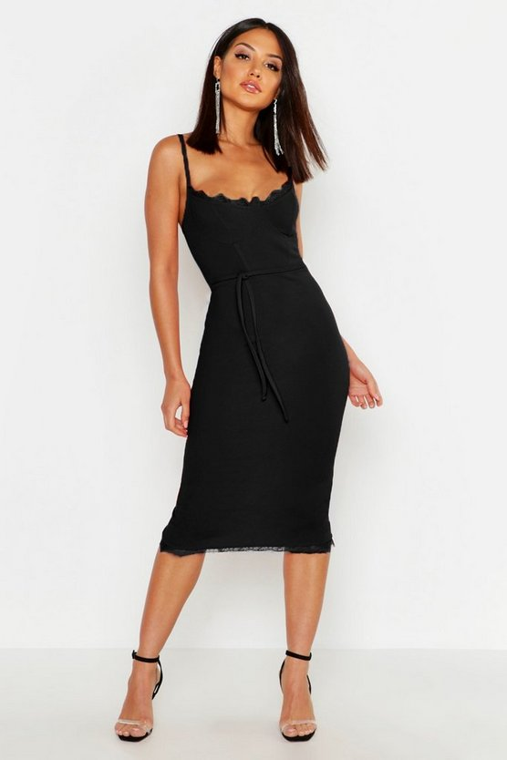 Black Lace Bustier Trim Tie Belt Midi Dress