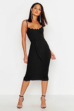 Lace Bustier Trim Tie Belt Midi Dress