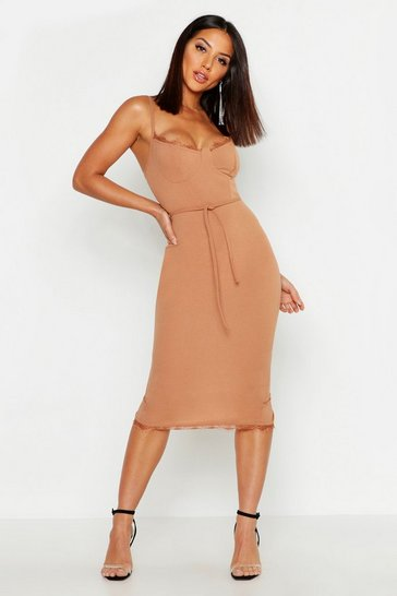 Camel Lace Bustier Trim Tie Belt Midi Dress