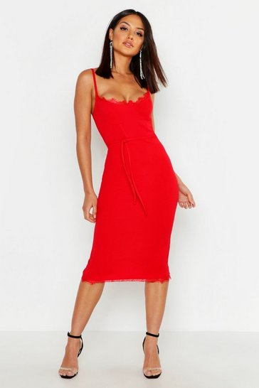 Red Lace Bustier Trim Tie Belt Midi Dress