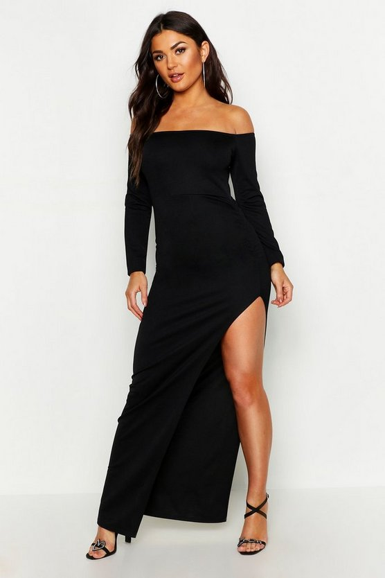 Womens Black Off The Shoulder Gathered Thigh Split Maxi Dress