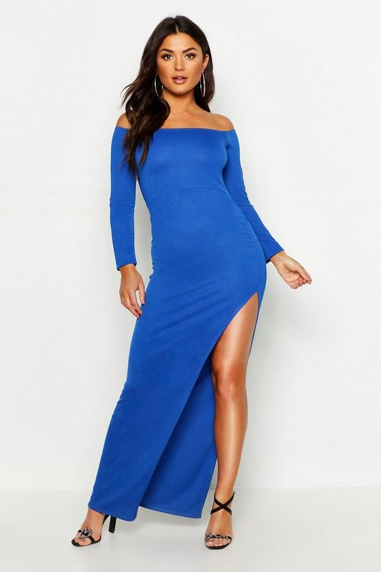 Off The Shoulder Gathered Thigh Split Maxi Dress