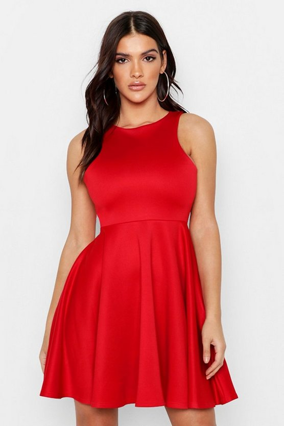 Womens Red Scuba Full Skirt Skater Dress