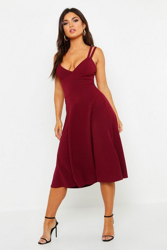 Strappy Open Back Midi Skater Dress