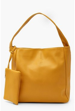 Womens Mustard PU Slouch Day Bag With Purse