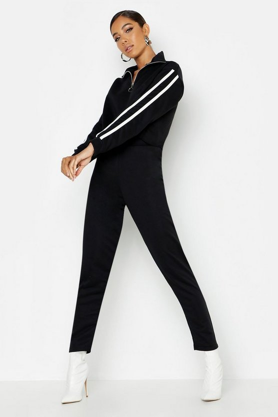 Womens Black Side Stripe High Neck Zip Detail Tracksuit