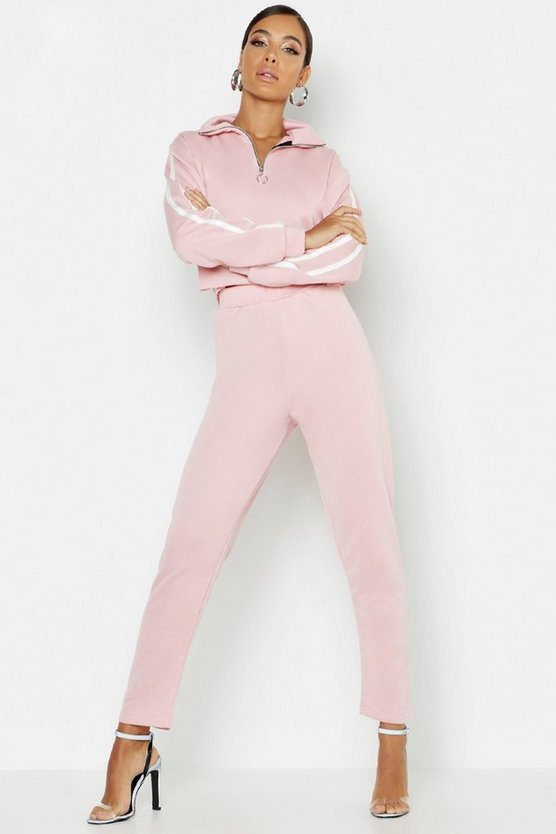 Womens Rose Side Stripe High Neck Zip Detail Tracksuit