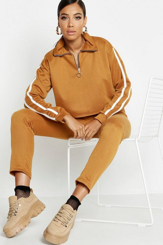 Womens Camel Side Stripe High Neck Zip Detail Tracksuit