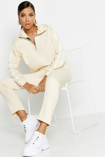 Womens Ecru Side Stripe High Neck Zip Detail Tracksuit