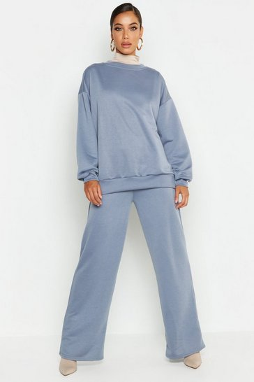 Womens Petrol Crew Neck Sweat And Wide Leg Tracksuit