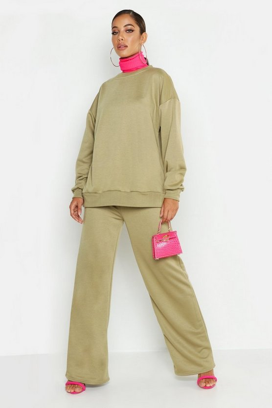 Sage Crew Neck Sweat And Wide Leg Tracksuit
