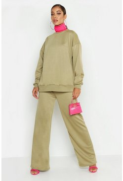 Womens Sage Crew Neck Sweat And Wide Leg Tracksuit