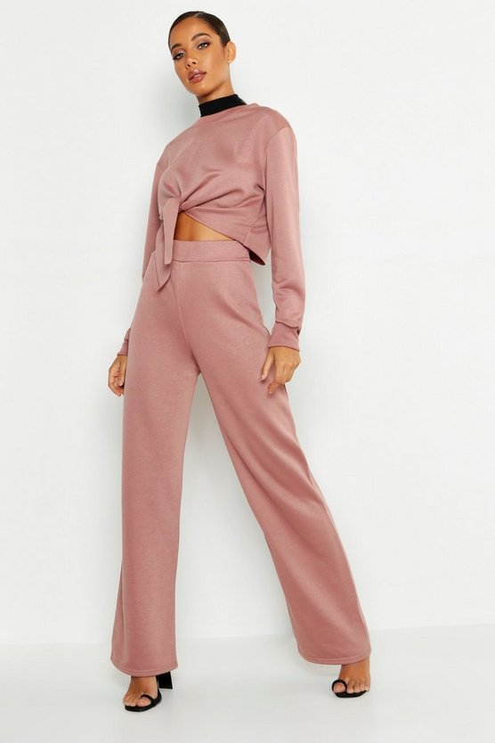 Womens Rose Cropped Knot Front Wide Leg Tracksuit