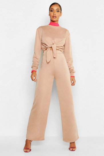 Womens Stone Cropped Knot Front Wide Leg Tracksuit