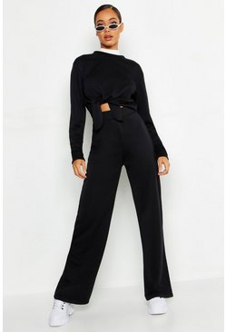 Womens Black Cropped Knot Front Wide Leg Tracksuit