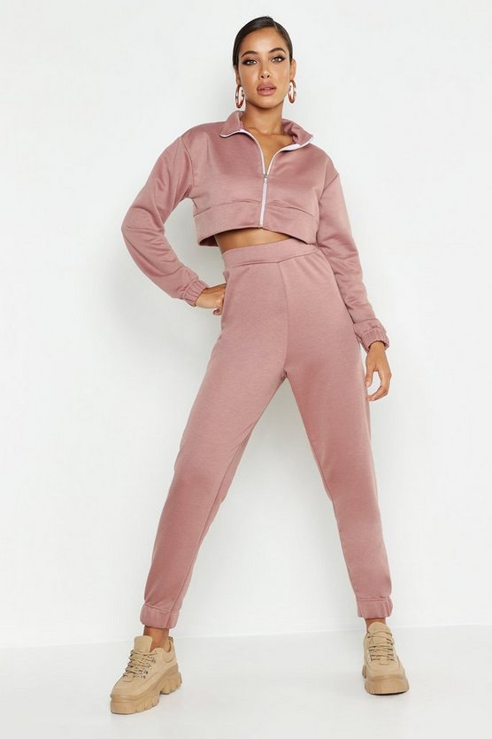 Womens Rose Zip Through Funnel Neck Sweat & Cuff Jogger Tracksuit