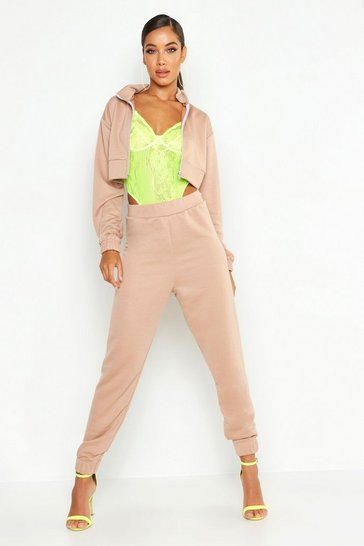 Womens Stone Zip Through Funnel Neck Sweat & Cuff Jogger Tracksuit