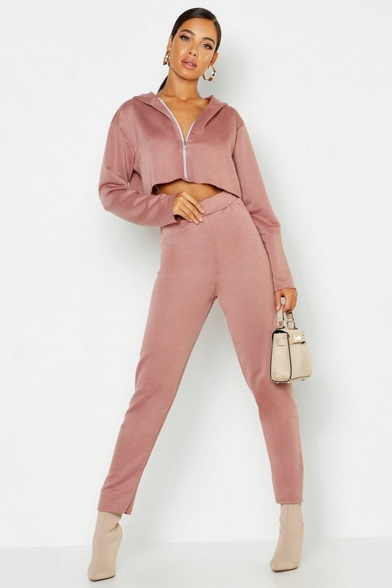 Womens Rose Crop Zip Through Hoody And Jogger Tracksuit