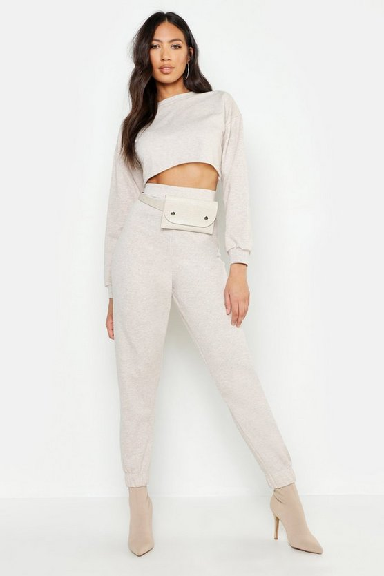Womens Ecru Crew Neck Raw Hem And Cuff Jogger Tracksuit