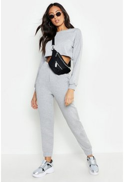 Womens Grey marl Crew Neck Raw Hem And Cuff Jogger Tracksuit