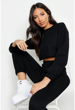 Womens Black Crew Neck Raw Hem & Cuff Jogger Tracksuit