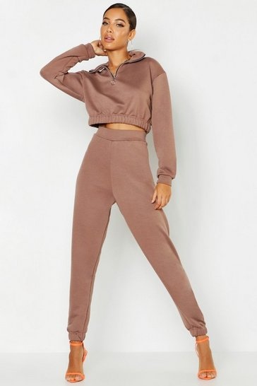 Womens Taupe O Ring Zip Crop Sweat & Cuff Jogger Tracksuit