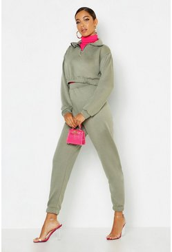 Womens Khaki O Ring Zip Crop Sweat & Cuff Jogger Tracksuit
