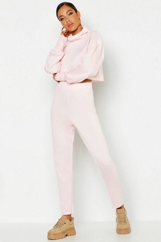 Womens Pink Roll Neck Raw Edge Sweat & Jogger