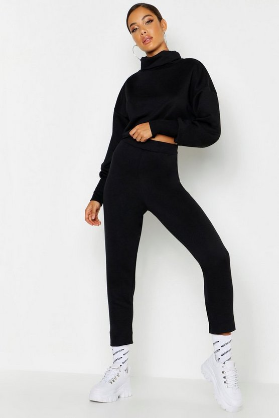 Roll Neck Raw Edge Sweat & Jogger