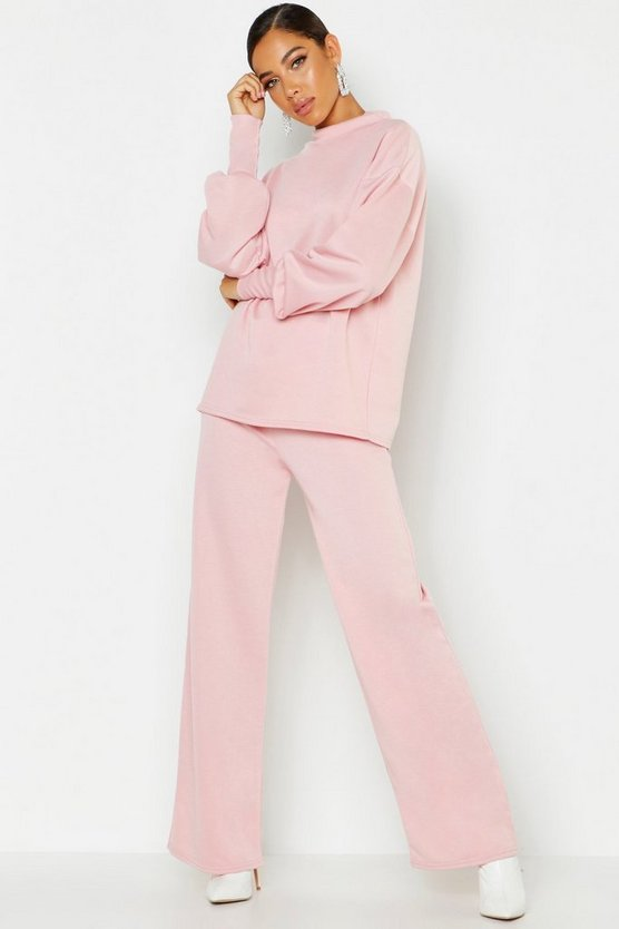 Womens Rose Oversized Sweat & Wide Leg Trouser Tracksuit