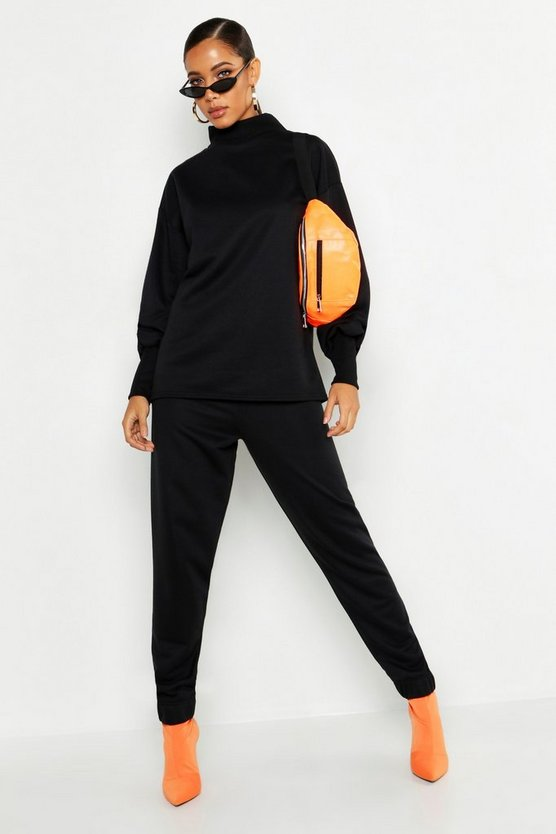 Womens Black Oversized Sweat & Wide Leg Pants Tracksuit