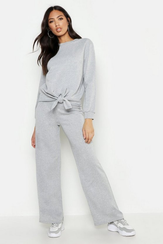 Womens Grey marl Knot Detail Wide Leg Tracksuit