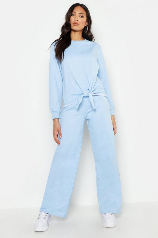 Womens Sky Knot Detail Wide Leg Tracksuit