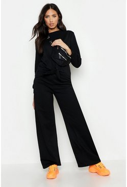 Womens Black Knot Detail Wide Leg Tracksuit