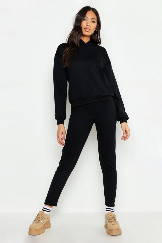 Womens Black Hooded Basic Tracksuit