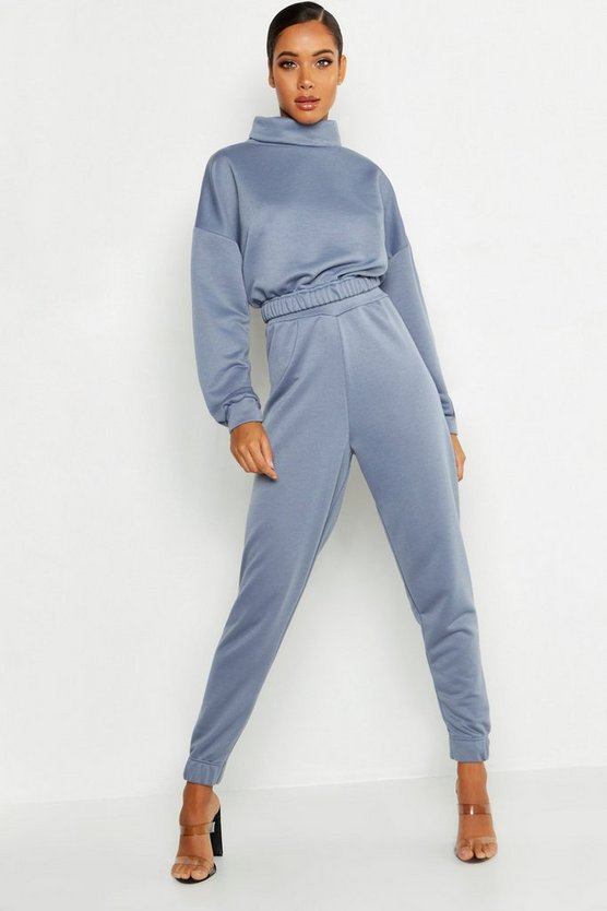 Womens Petrol Roll Neck Sweat Tracksuit