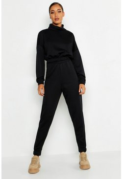 Womens Black Roll Neck Sweat Tracksuit