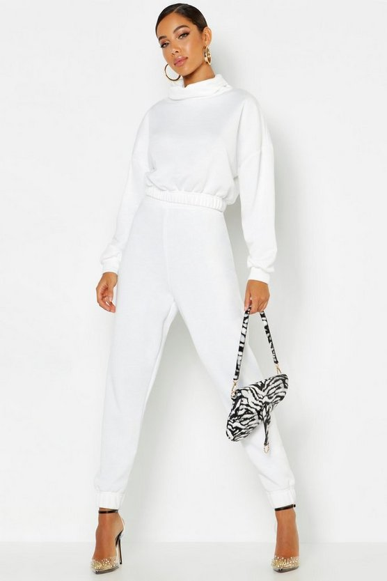 Womens Ivory Roll Neck Sweat Tracksuit