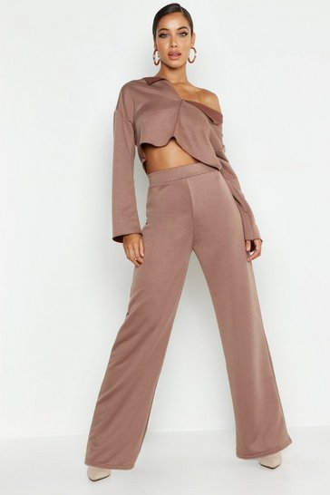 Womens Taupe Raw Edge V Neck Tracksuit