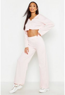 Womens Pale pink Raw Edge V Neck Tracksuit