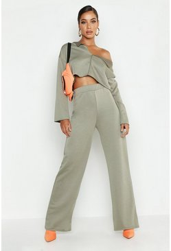 Womens Khaki Raw Edge V Neck Tracksuit