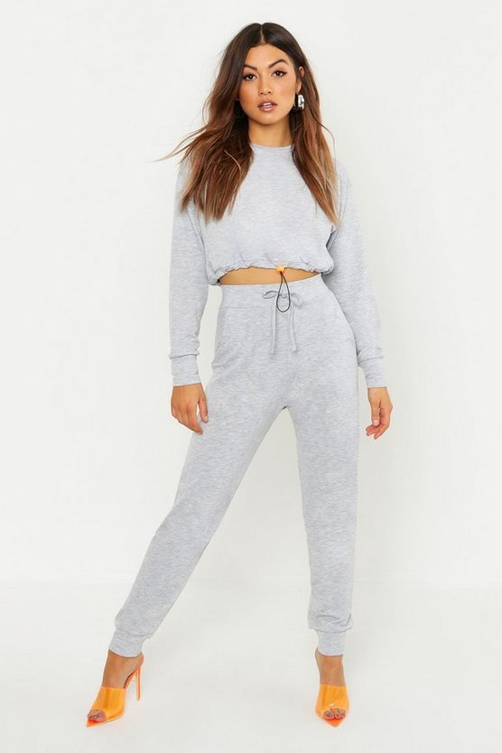 Womens Grey Funnel Neck Neon Toggle Jogger Set