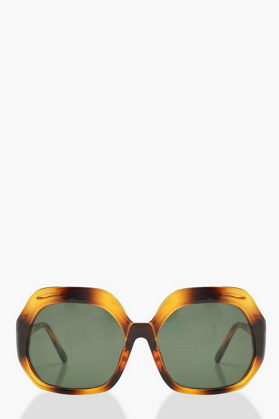 Womens Brown Vintage Look Square Tortoiseshell Sunglasses