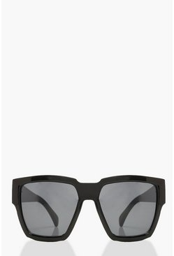 Womens Black Chunky Square Oversized Sunglasses