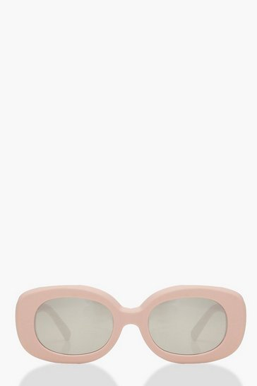 Womens Pink Skinny Square Sunglasses